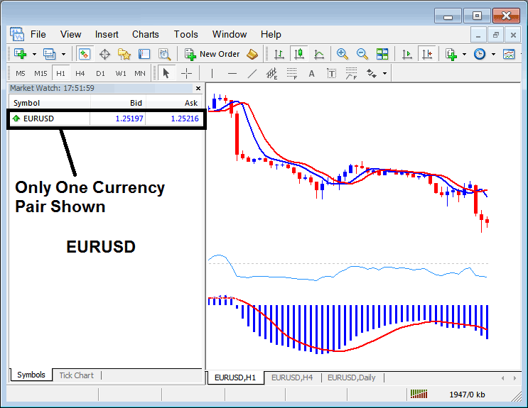 EURUSD Currency Pair Symbol Shown on MetaTrader 4 Platform - MetaTrader 4 Market Watch Window - Showing Forex Currency Pair Symbols in MT4 Forex Platform