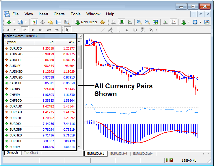 Forex Currency Symbols Shown on the MetaTrader 4 Market Watch Window - List of all Available MT4 Forex Symbols Shown on the MT4 Forex Trading Platform