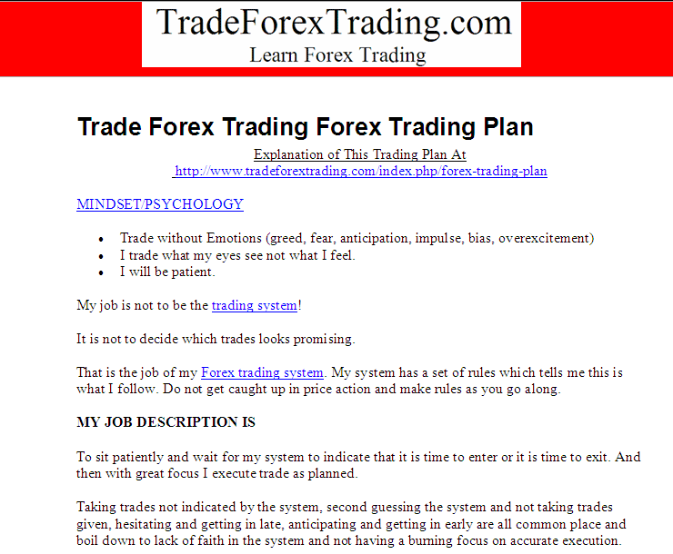 Forex Trading Psychology Section on Forex Plan