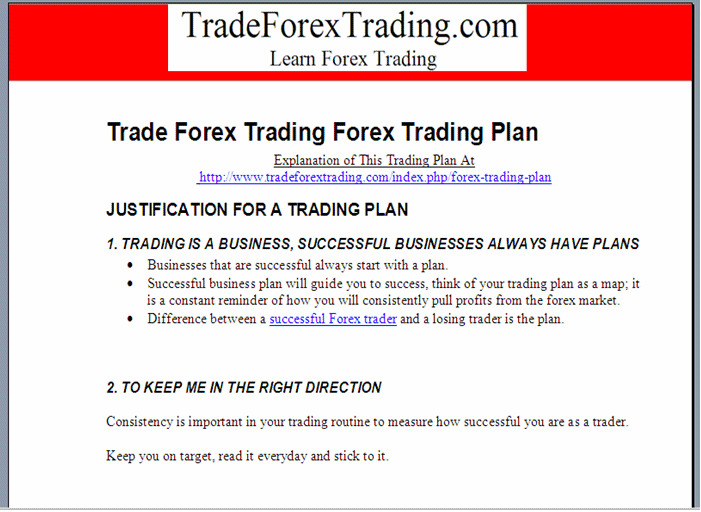 Specify Forex Trading Schedule on Forex Trading Plan