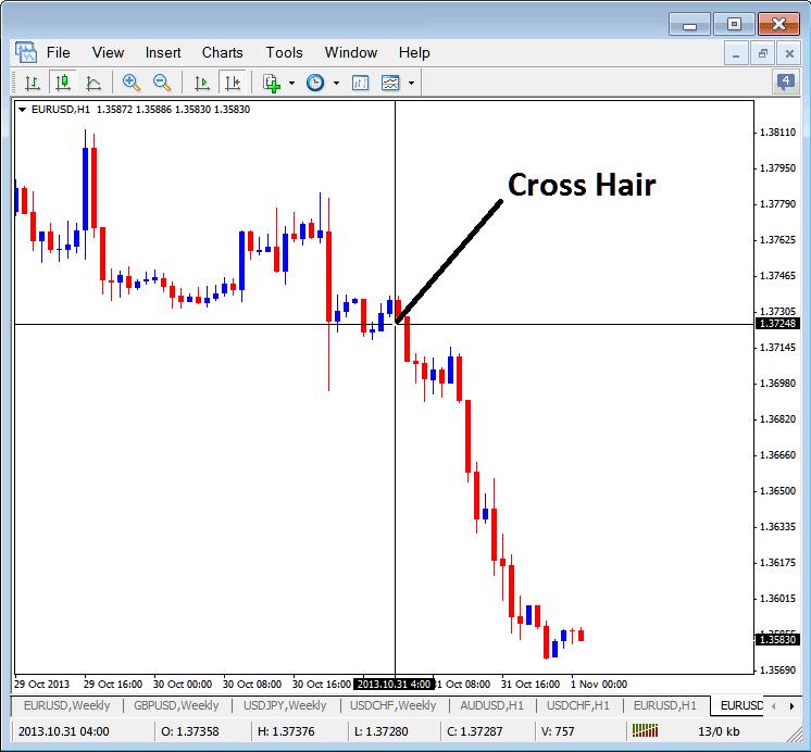 MetaTrader 4 Cross Hair Pointer on Forex MetaTrader 4 Charts