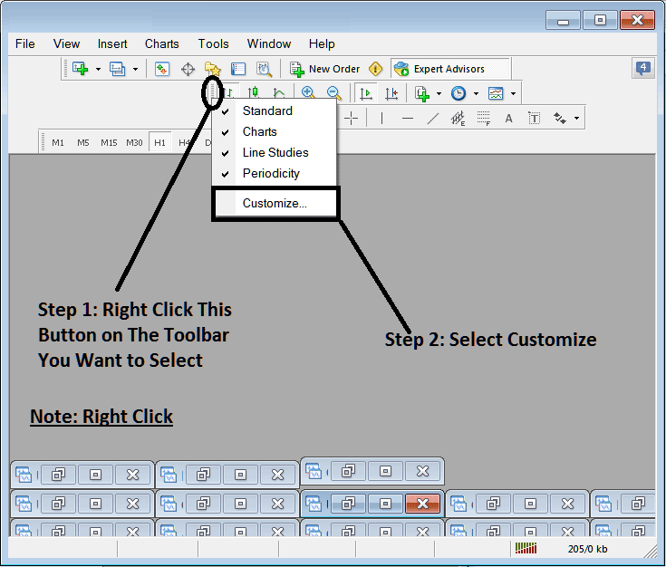 Adding Buttons To Chart Toolbars on Metatrade 4 Forex Trading Platform