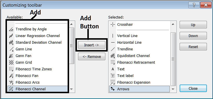 Add Line Tools To The Line Studies Toolbar on MetaTrader 4 Forex Platform
