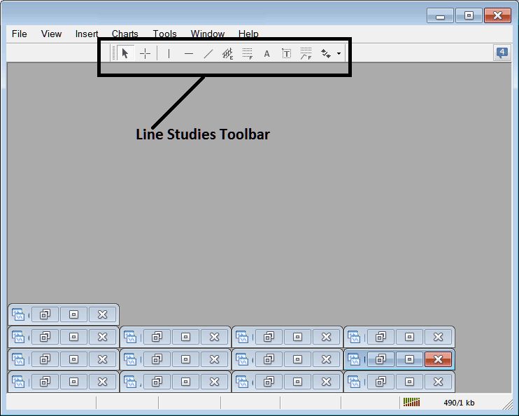 Line Studies Toolbar Menu on MetaTrader 4 Forex Trading Platform
