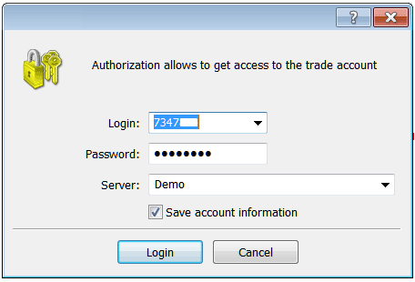 MetaTrader 4 Platform Login Username and Password as Shown Below
