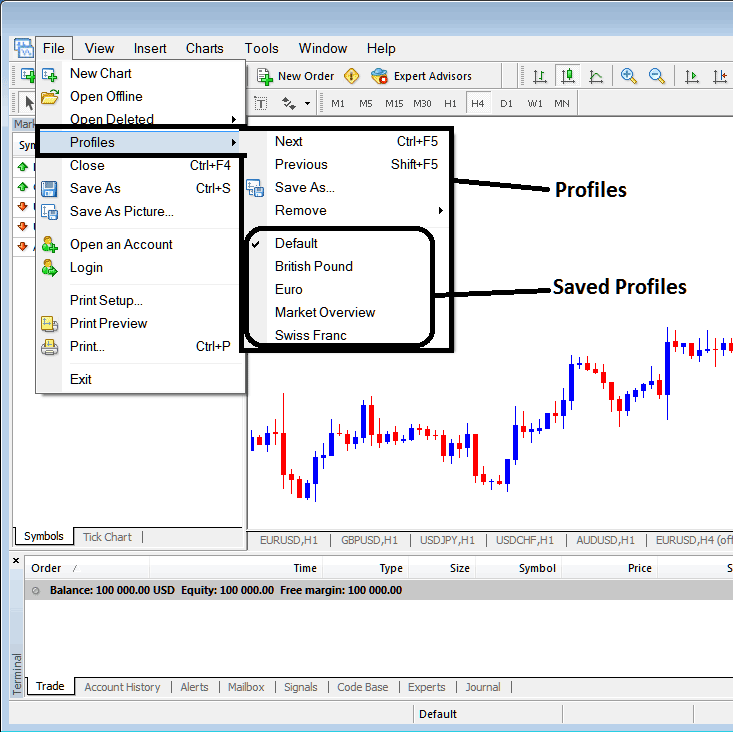 Saving a Profile in Metatrader 4 Forex Trading Platform