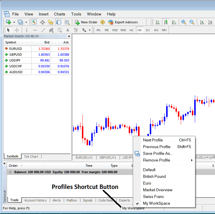 Profile Short Cut Button on MetaTrader 4 Forex Platform