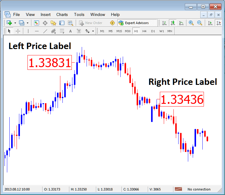 Left Price Label and Right Price Label  on Metatrader Forex Trading Platform