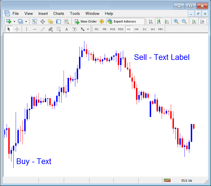 Place Text and Text Label on Forex Chart in MetaTrader 4 Platform