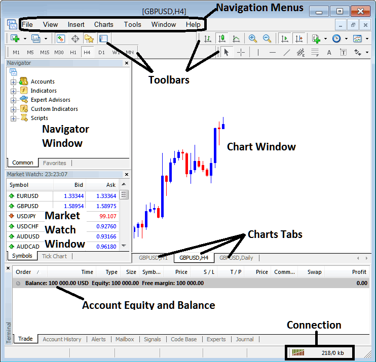 MetaTrader 4 Forex Trading Platform Interface Introduction Guide