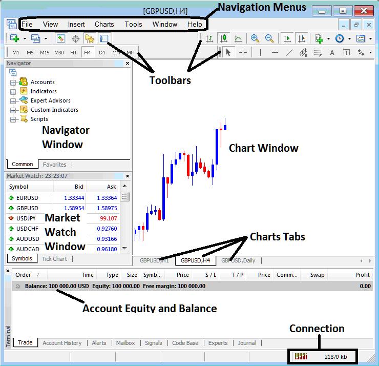 MetaTrader 4 Charts Tab on MT4 Forex Platform Software -Forex Trading MetaTrader 4 Live Chart