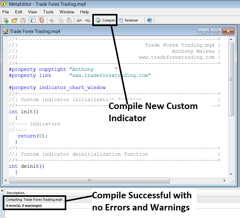 Compile a New Custom Indicator on MetaTrader 4 MetaEditor