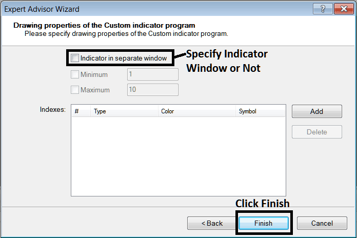 Custom Indicator Properties Settings