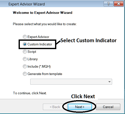 MetaTrader 4 Window for Adding Custom Indicator