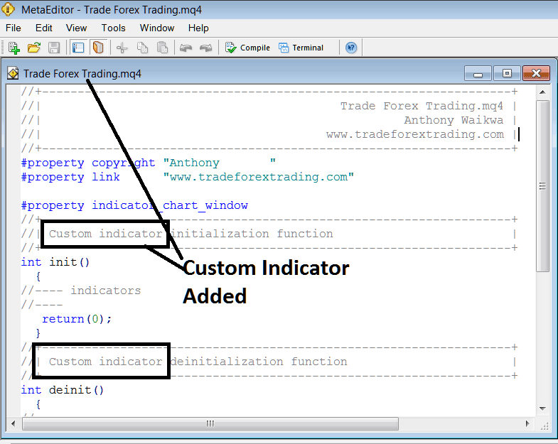 Adding Custom Indicator on MT4 MetaEditor Programming Environment