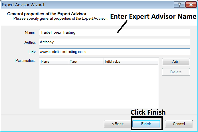 Enter Name of New Expert Advisor Before Adding it to MetaTrader 4 Platform