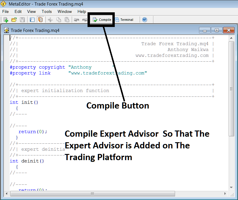 Compile The Expert Advisor Program on MetatTrader 4 MetaEditor Language