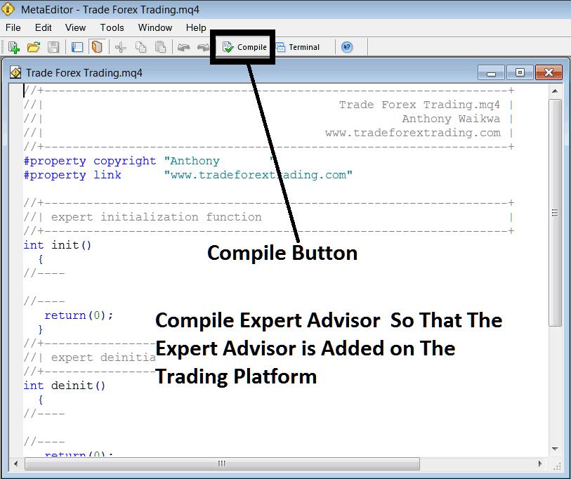 Compile The Expert Advisor Program on MetaTrader 4 MetaEditor Language