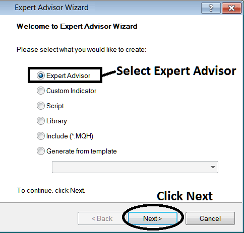 Window for Adding New Expert Advisor on MetaTrader 4 Forex Platform