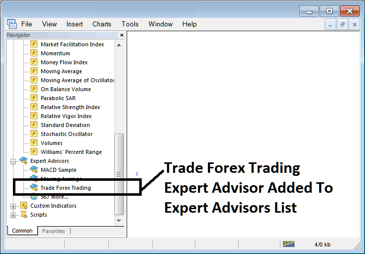 Expert Advisor Added on MetaTrader 4 List of Installed Expert Advisors