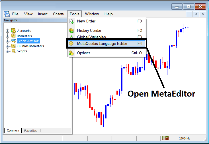 MetaTrader 4 Platform MetaEditor Language: How To Add Expert Advisors