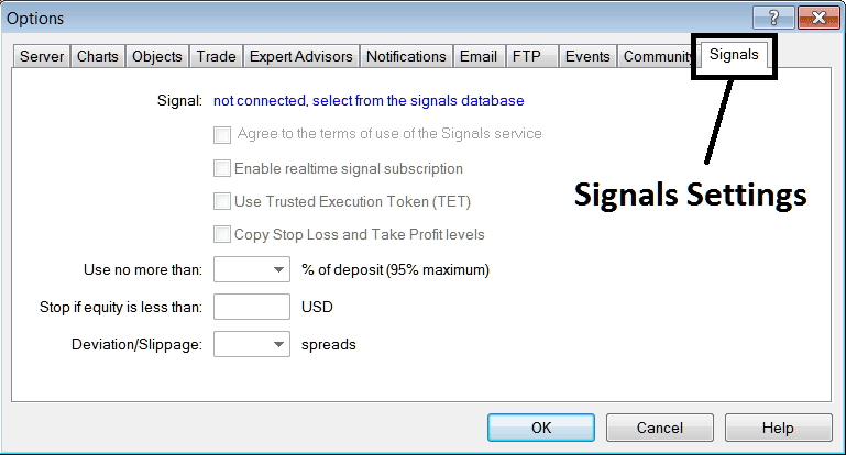 Signal Settings – How to Setup MQL5 Forex Signals on Metatrader 4 Trading Platform