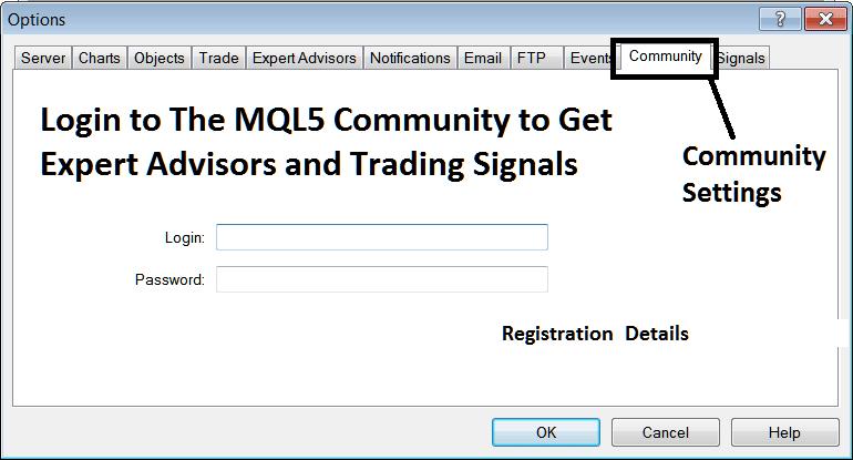 MQL5 Community Login From The MetaTrader 4 Forex Trading Platform