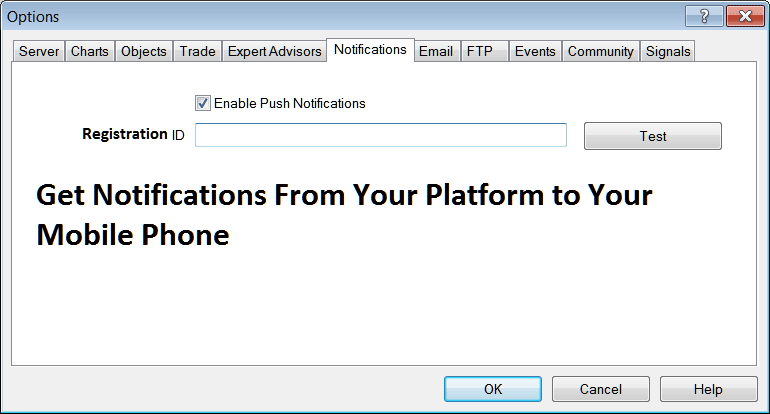 Notifications Settings For Mobile Phone on MetaTrader 4 Forex Trading Platform
