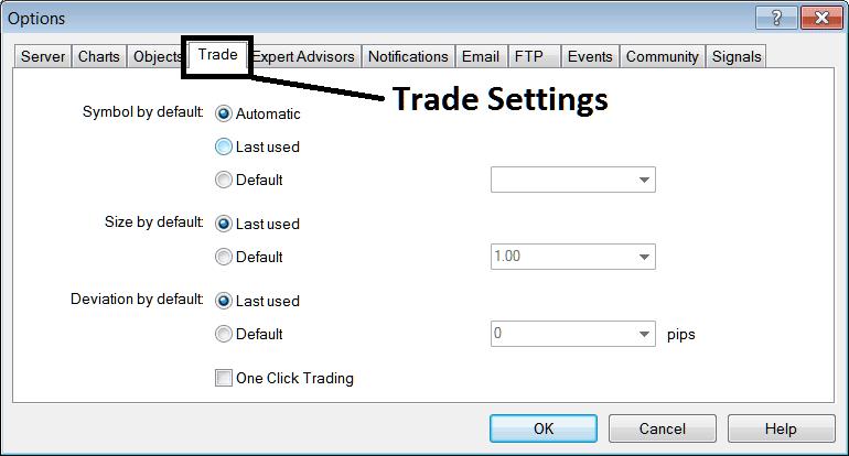 Trade Settings Option on Metrader 4 Forex Trading Platform