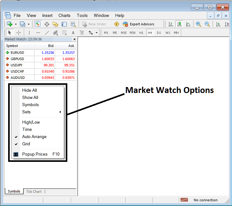 How to Show or Hide Currency Pairs on MT4 Market Watch Window