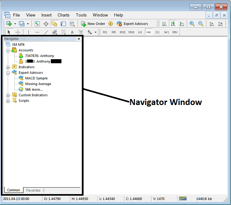 MetaTrader 4 Navigator Window - Metatrader 4 Platform