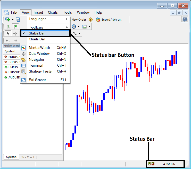 Check Online Connection on The MetaTrader 4 Platform Interface Tutorial