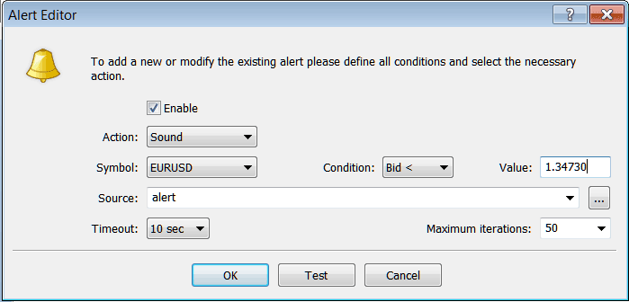 MetaTrader 4 Window For Setting Trading Alerts on MT4 Terminal Window