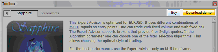 Example of how to get a Forex Expert advisor from the MQL5 Market