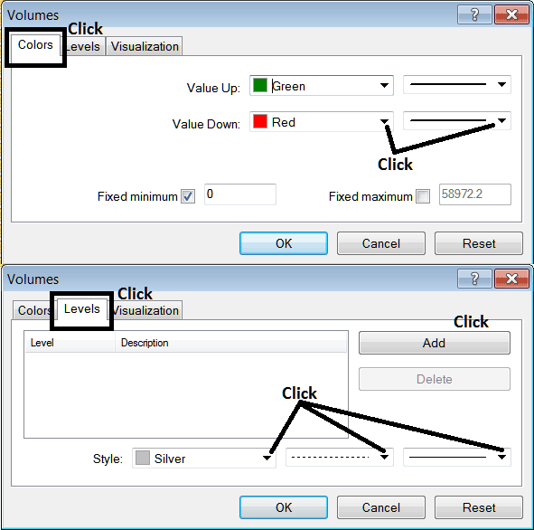 Edit Properties Window For Editing Volumes Indicator Settings